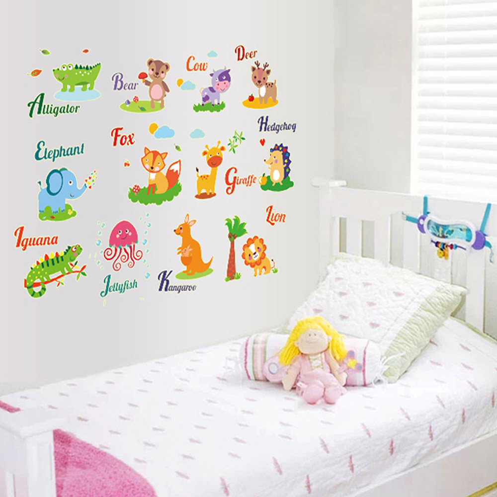 Free Shipping/1pcs DIY Vocabulary Animal Glow Kids Room Decals Home Decor /  Wall Sticke Wallpaper Paste Art Deco Mural Children In Wall Stickers From  Home ...