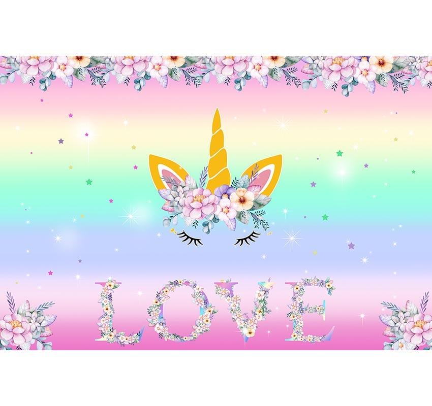 Unicorn Narozeniny Téma Party kulis Vlastní Rainbow Flower Láska - Videokamery a fotoaparáty - Fotografie 2