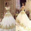 Maternidade Rendas Appliqued Tule Vestidos de Casamento Árabe 2017 Luxo Ouro-Alta Pescoço Vestidos de Baile Nupcial Robe De Marie Plus tamanho
