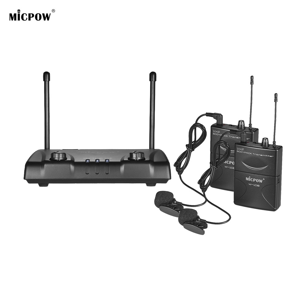 MICPOW W 10 Wireless Microphone Mic VHF Dual Channel 2 Lapel Lavalier Mic 2 Bodypack Transmitters