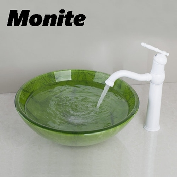 Banyo Lavabo Cam Lavabo Beyaz Boyama Pirinç Musluk 416897050