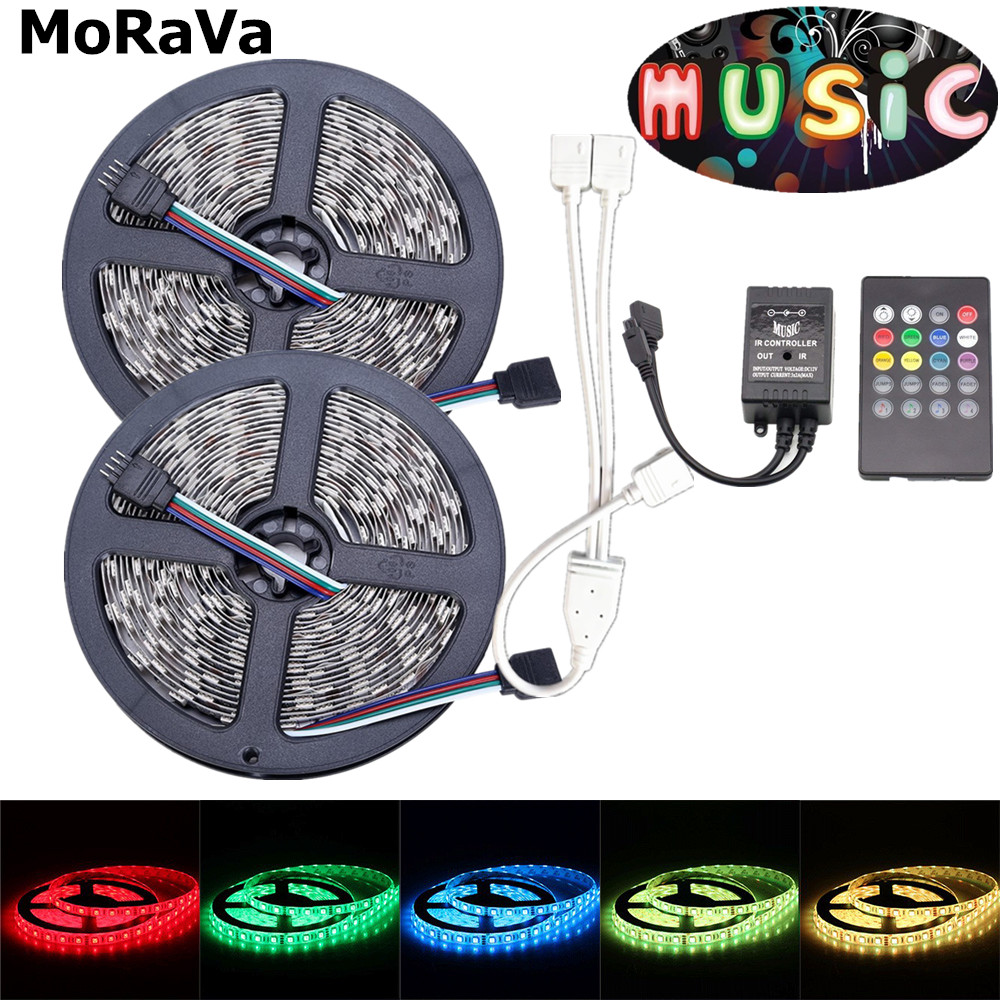 44Key Music 5050 RGB LED Strip 12V 150leds Non Waterproof Flexible RGB Rope Light+44Key Music IR LED Controller No Power Adapter