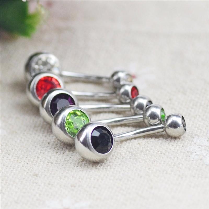 HTB1bjDbKpXXXXaxXFXXq6xXFXXXj Charming Gem-Studded Silver Bar Ball Navel Button Ring For Women - 10 Colors