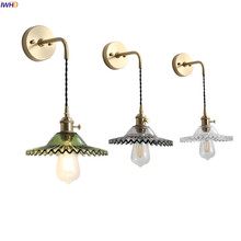 IWHD Nordic Retro Vintage Wall Lamp Beside Bedroom Bathroom Mirror Light Glass Copper Wall Sconce Edison LED Lampara Pared iwhd golden led wall light bathroom bedroom glass ball wall lamp modern sconce led stair lights lamparas de pared