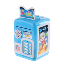Electronic Code Safety Saving Boxes - Mini Sound & Light ATM Money Coin Crash Piggy Bank Toy Xmas Gifts - Blue(China)