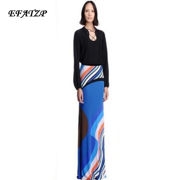 New 2017 Fashion Stretch Jersey Silk Dress Women s Long Sleeve Geometric Print Maxi Long Dress