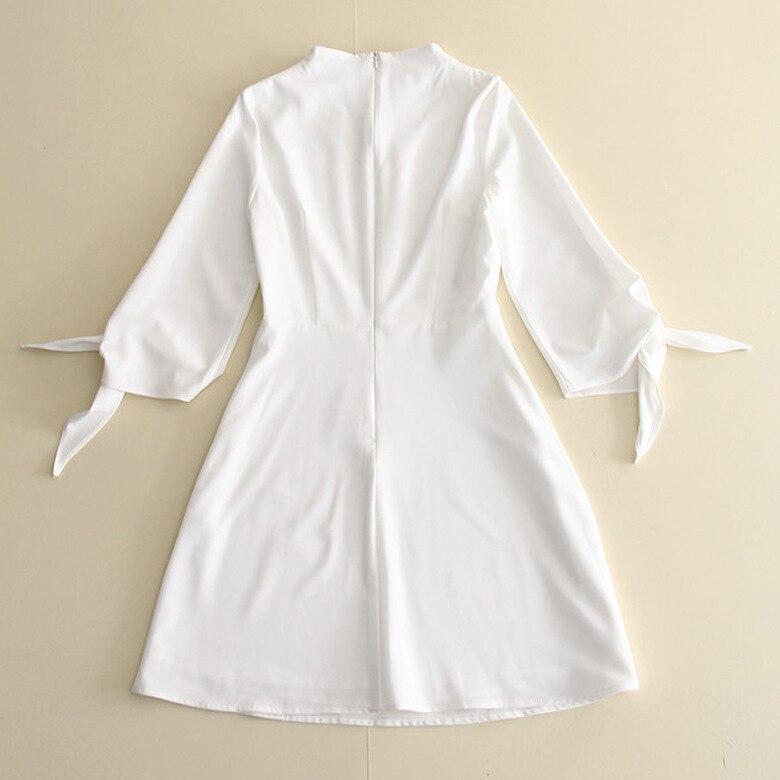 0727 2018 Rose Extérieur Solide Femmes Robe Lanterne blanc Mode Couleur Col De Début L'automne Nouveau Rond Commerce Manches 431 Européen UpTUrx