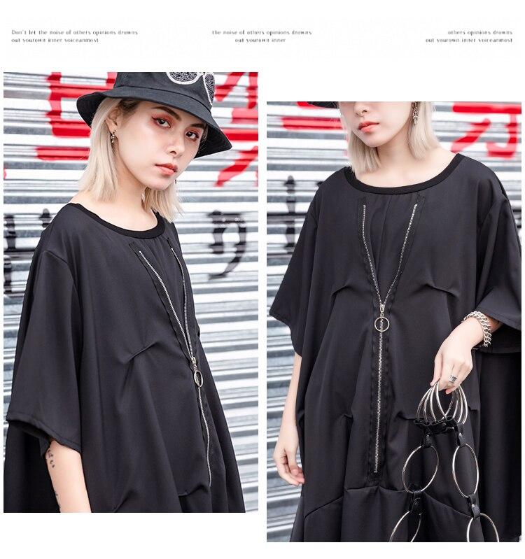 Women Summer Oversized Short Sleeve Irregular Dress Female Streetwear Punk Gothic Loose Casual Zipper Fold Spliced Black Dresses in Dresses from Women 39 s Clothing