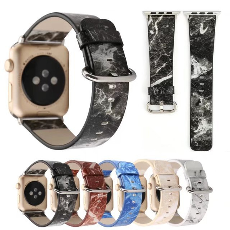 Applicable To For Apple Watch Leather Strap Hot New For Apple 3 Generation Watch For Apple Watch Marble Leather Strap