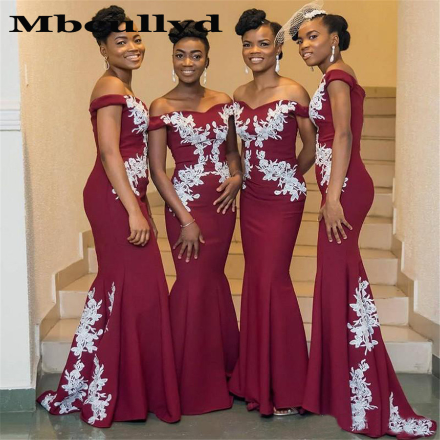 Sexy Off Shoulder   Bridesmaid     Dresses   2019 Applique Lace Long Mermaid Maid Of Honor   Dress   For Black Women Party Cheap