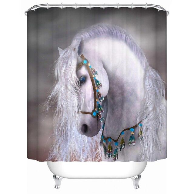 White Horse Fabric Shower Curtain 3d Bathroom Curtain Waterproof ...