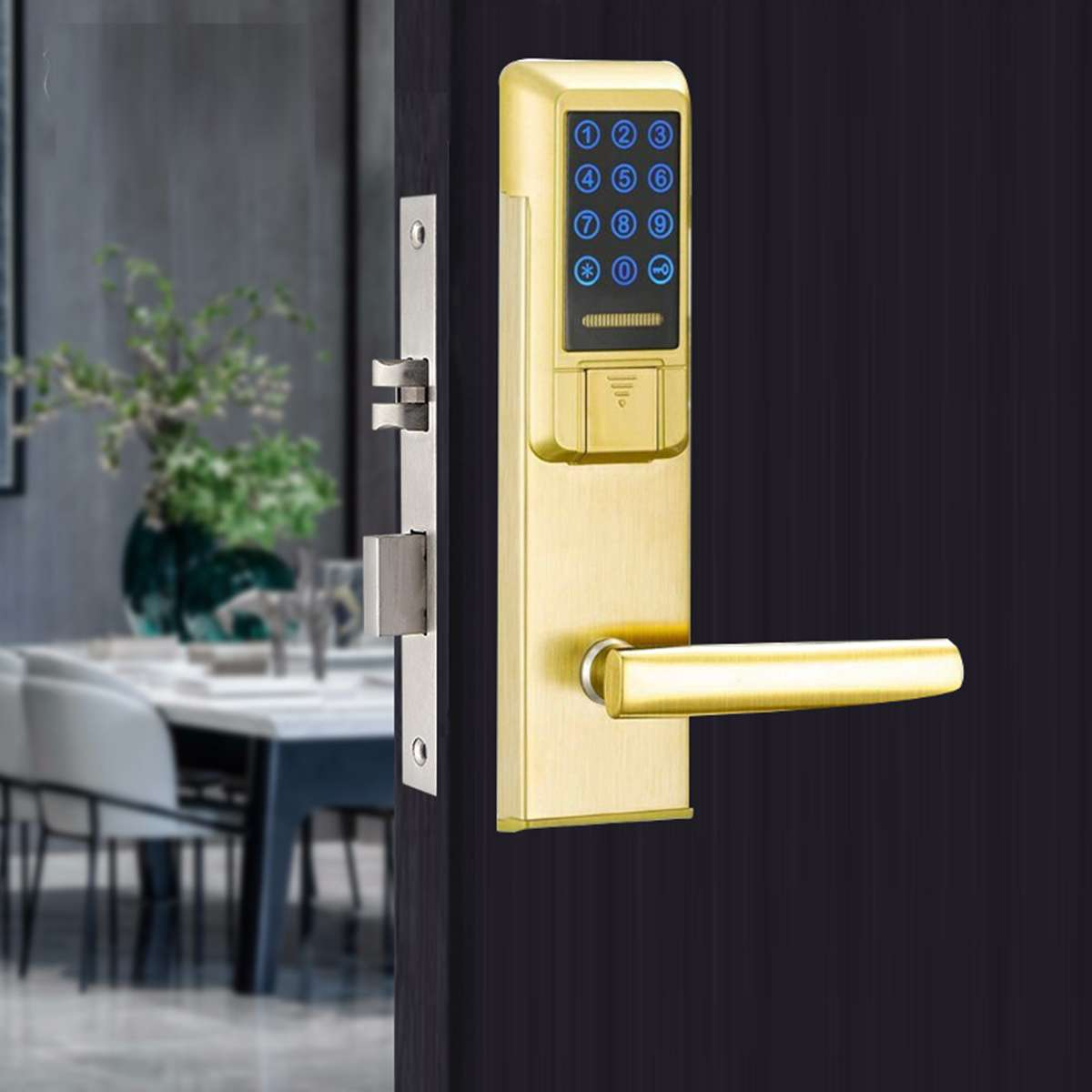 Gold Smart Electronic Entry Door Lock Key Password Cards Lock Kit Intelligent Home Security Hotel Access Control Electric Lock