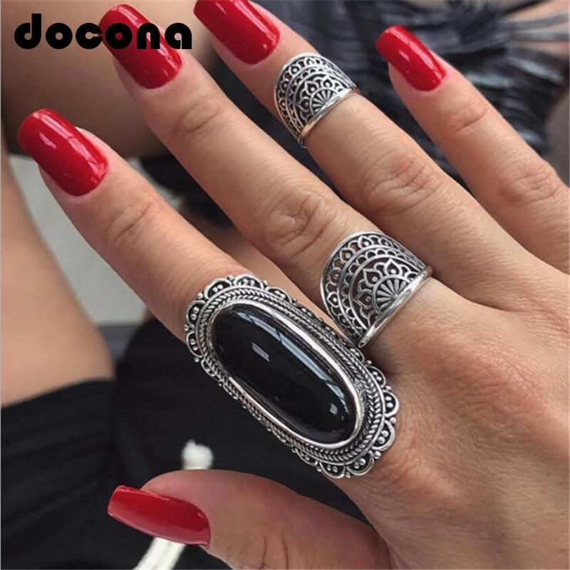 Docona Vintage Silver Color Big Black Rhinestone Rings For Women Tribal Stone Hollow Flower Knuckle Midi Ring Boho Jewelry 4174