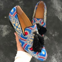 Spring print strip leather men dress shoes slip on flats fashion blue tassel men driving shoes Men Loafers