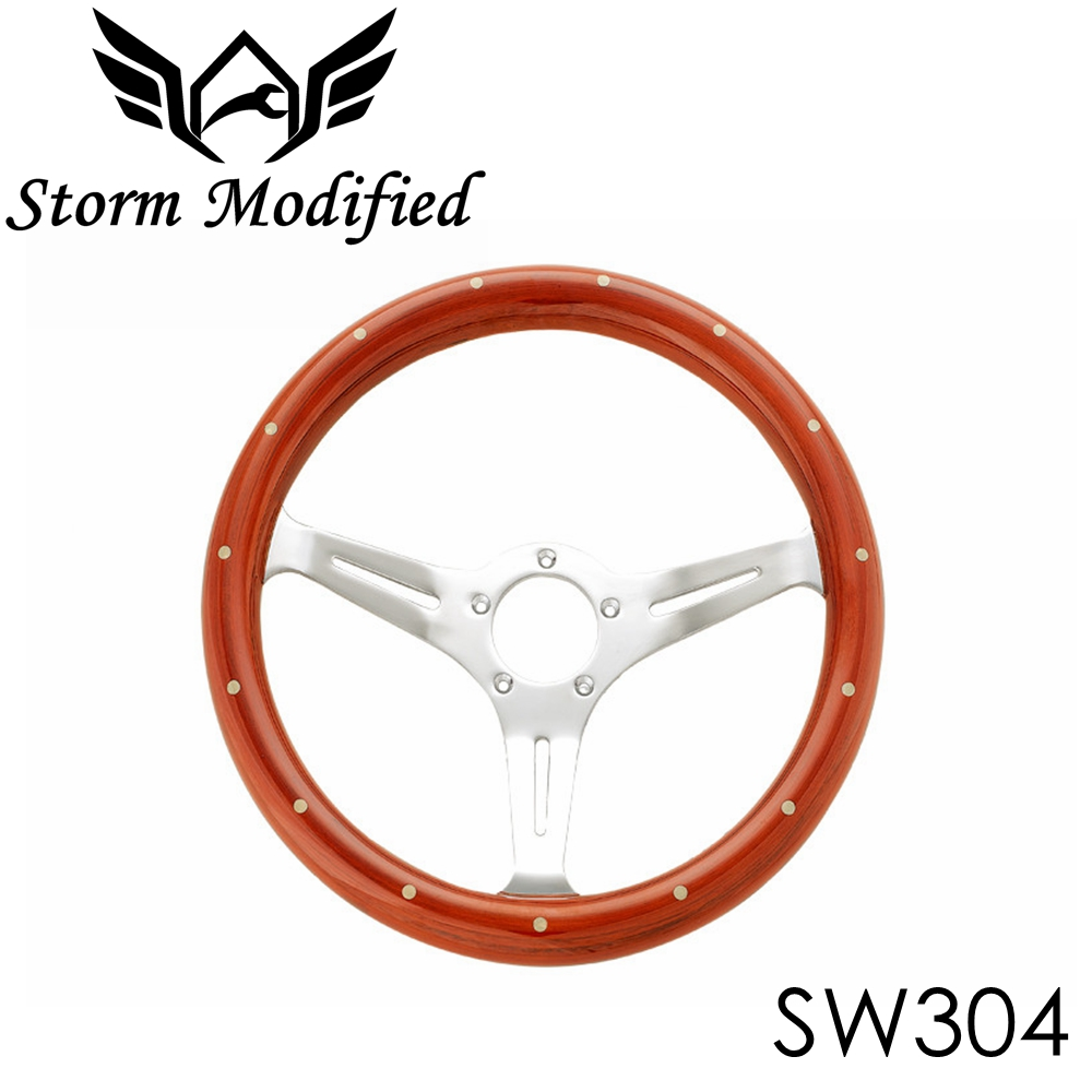 SuTong Universal 350mm Classic Wood Steering Wheel with Rivet 14 inch Wooden Racing Car Steering Wheel with Chrome Spoke SW304 fisico парео