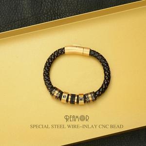 Image 2 - Мужские браслеты с черными цирконами REAMOR, Роскошные браслеты из нержавеющей стали с золотыми бусинами, плетеный браслет ручной работы из натуральной кожи, ювелирные изделия