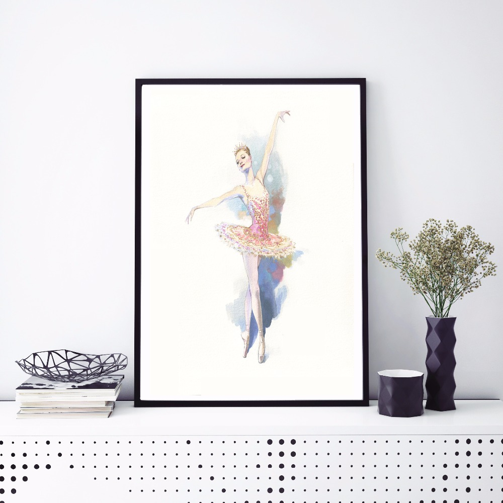 Ballet Princess Watercolor Canvas Art Print Painting Poster Wall Pictures For Kids Room Home Decorative Bedroom Decor No Frame in Painting Calligraphy from Home Garden