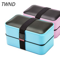 Japan style 2 layers bento box student office plastic lunch boxes portable microwaveble tableware 26