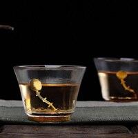 Handmade 70 ml Fosco Japonês Embutidos de Ouro Resistente Ao Calor Copo De Chá de Vidro Copo justo Kung Fu Jogo de Chá Xícara de chá de Licor de Café Caneca de Leite