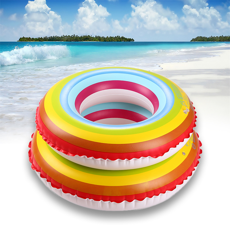 80 90cm Outdoor PVC durable Sports Adult children Thickening Inflatable Rainbow Protection Swimming Ring floats pool toys