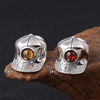 Wholesale s925 pure silver fashion Eye of the personality hipster mordor hat jewelry pendants Thai silver and silver