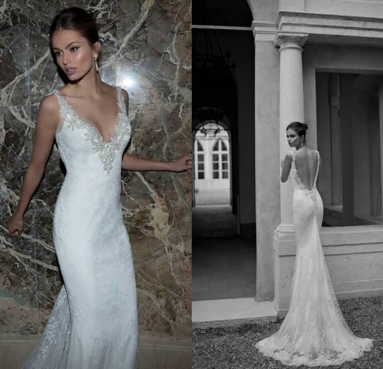 2015 berta bridal spring deep v neck sheath sexy backless for Lace v neck backless wedding dress
