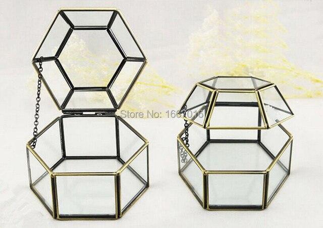 Glass Storage Box Score + Solder Glass Terrarium Succulent Glass Bronze  Flower Box Jewelry Box Wedding