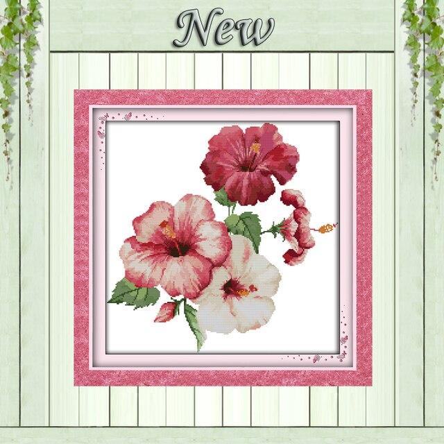 The bunga kembang sepatu kecantikan lukisan terhitung dicetak pada the bunga kembang sepatu kecantikan lukisan terhitung dicetak pada kanvas dmc 14ct 11ct cina cross stitch ccuart Choice Image