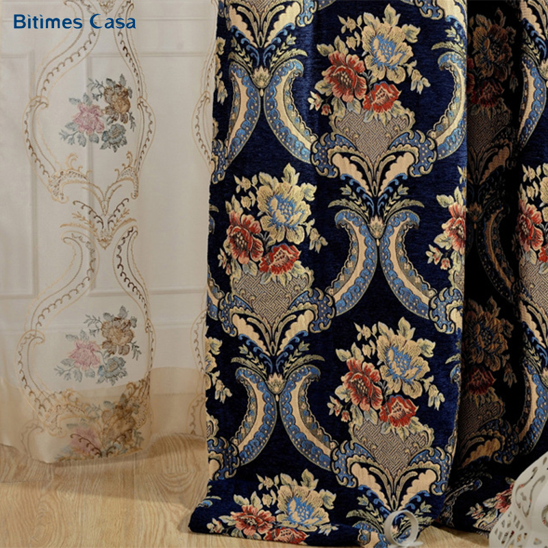 Luxury Royal Jacquard Chenille Blackout Window Curtain For Living Room Bedroom Wedding Room High Shading Heavy Weight Home Decor