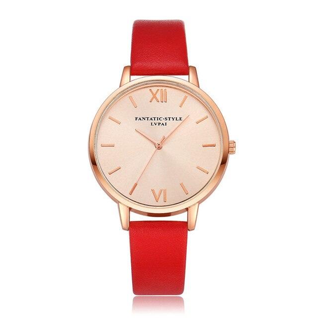 LVPAI Fashion Women Watches Luxury Analog Quartz Wristwatch Rose Gold Leather Fe
