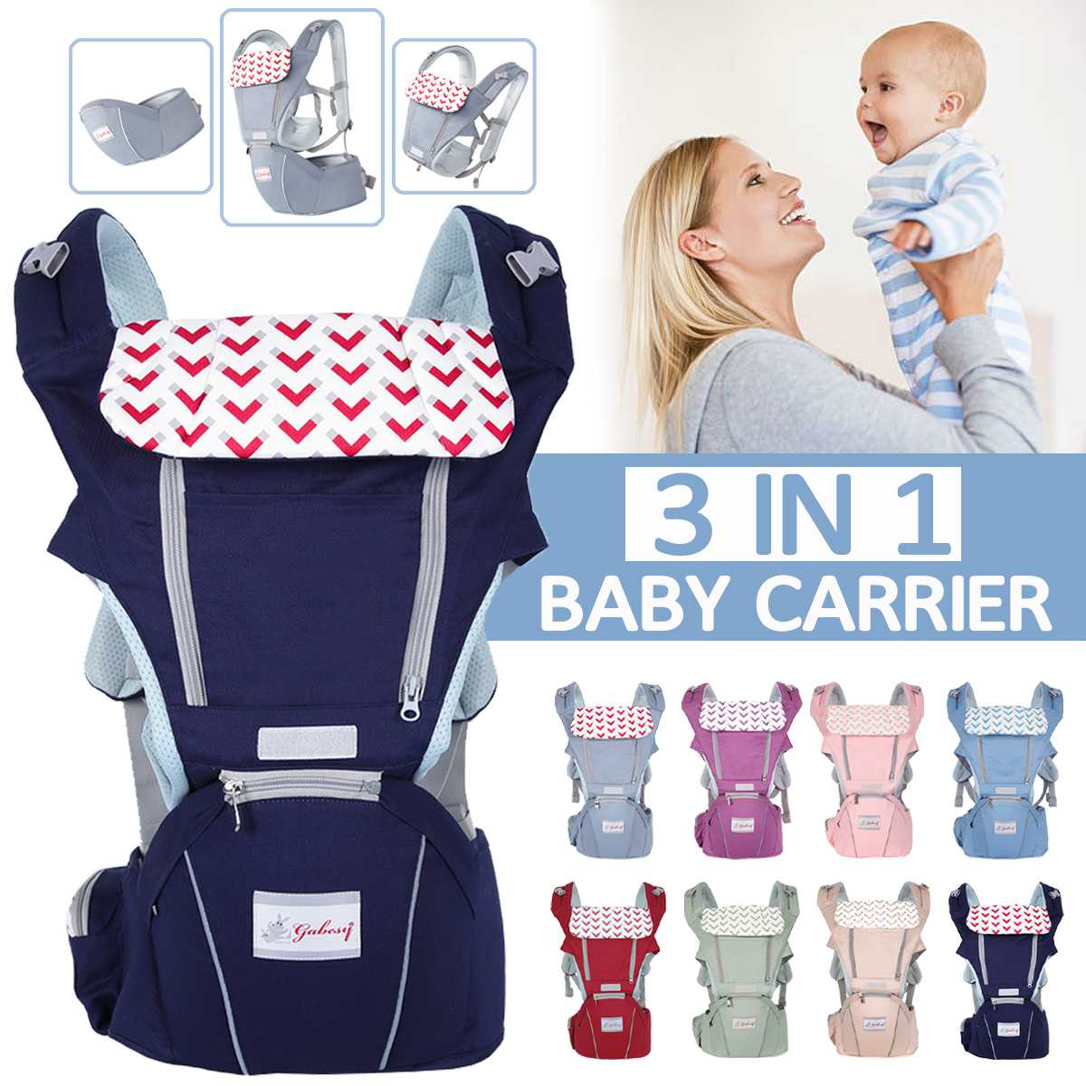 0 36 Months Breathable Front Facing Baby Carrier Waist Stool 3 in 1 Infant Comfortable Sling Backpack Pouch Wraps Baby Kangaroo
