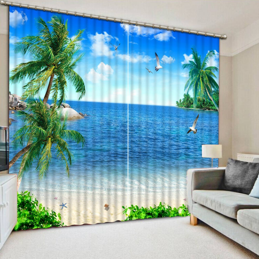 Blue sky coconut sea view Customize Blackout Curtain Best Curtains For Living Room Bedroom Kitchen Hotel Window Curtain  Blue sky coconut sea view Customize Blackout Curtain Best Curtains For Living Room Bedroom Kitchen Hotel Window Curtain