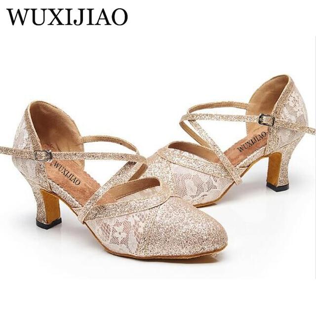 ed22350b9 WUXIJIAO Women Latin Dance Shoes Salsa Shoes Social Party Shoes for Female  Tango Samba Ballroom Dance Shoes Heel 7.5cm