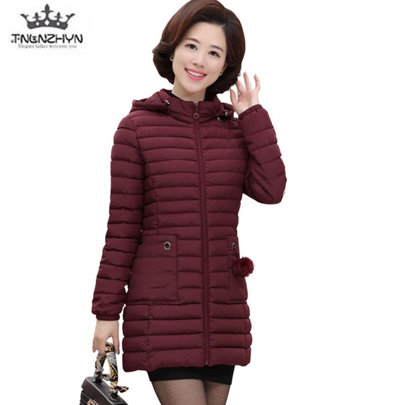 Plus size 2018 Middle-aged Winter Down Cotton Clothes High-quality Medium-length Warm Women Jacket Coats Hooded Ms Jacket Parkas 2017 middle aged winter jacket women thicken warm cotton padded slim plus size 6xl winter coat women parka high quality