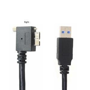 Image 5 - USB 3.0 b 90 תואר ימין ושמאל עד & למטה בזווית מיקרו B USB 3.0 עם נעילת ברגים הר נתונים כבל 1.2 m 3 m 5 m