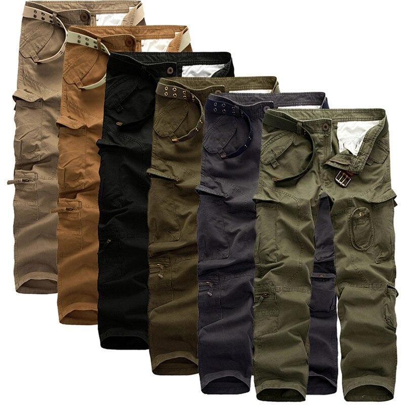 Повседневная Мужчины Брюки Зеленый Классический Cargo Pants большие карманы украшения Удобные брюки Мешковатые хлопок плюс размер легко мыть брюки
