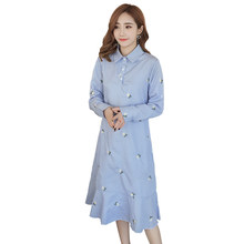 7491a7f46e0ff Formal Maternity Clothes Cotton Pregnancy Dress Spring Autumn Maternity  Clothing Of Pregnant Women Premama Vestidos Blue