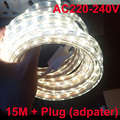 led strip 15m + strip plug adapter 300 LED 5050  luces led tiras Waterproof Cool White Warm white red yellow green 220V