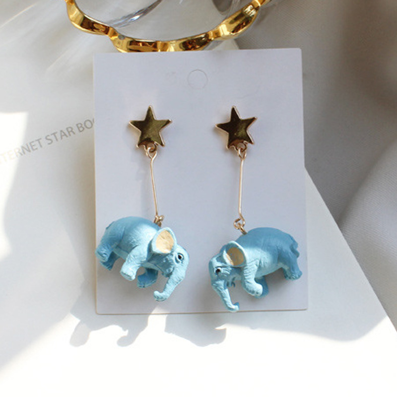 2018 Funny Cute Ethnic Thailand Blue Elephant Pendant Star Stud Earrings for Women Girls Wedding Party Fashion Jewelry Gift