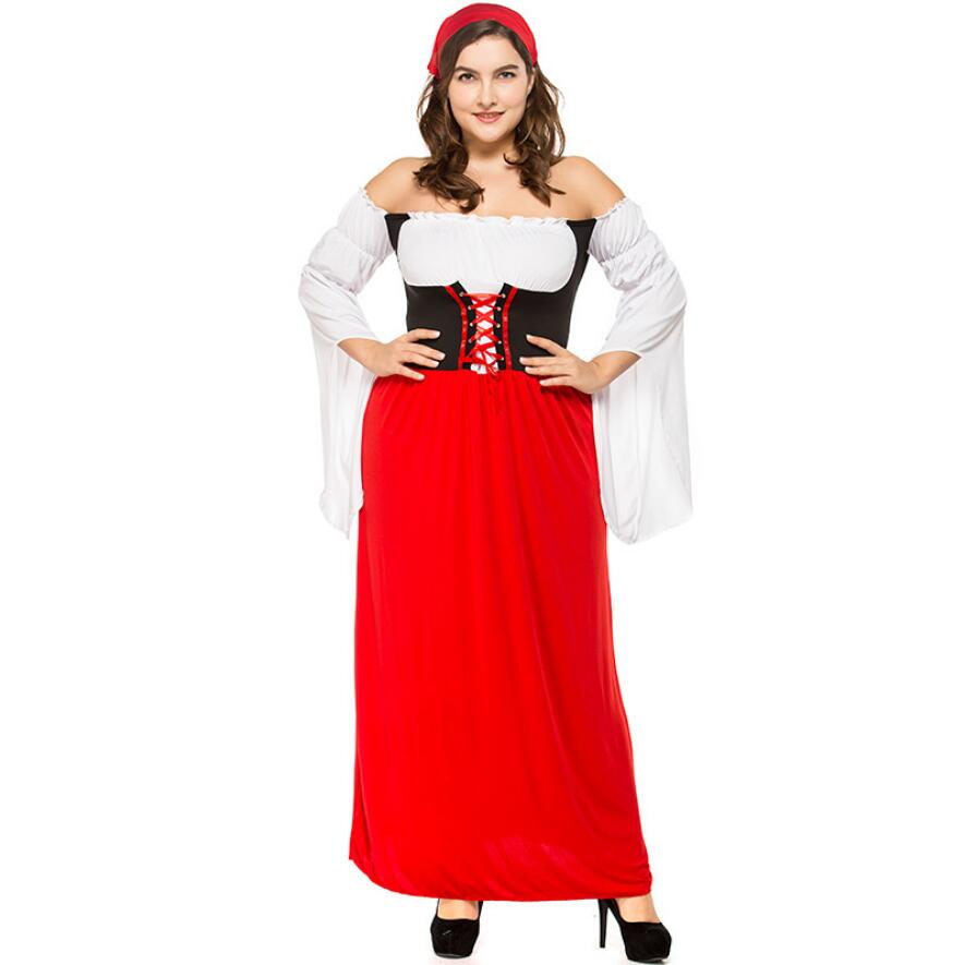 Women Oktoberfest Long Dress GermanDirndl Costume Red 1