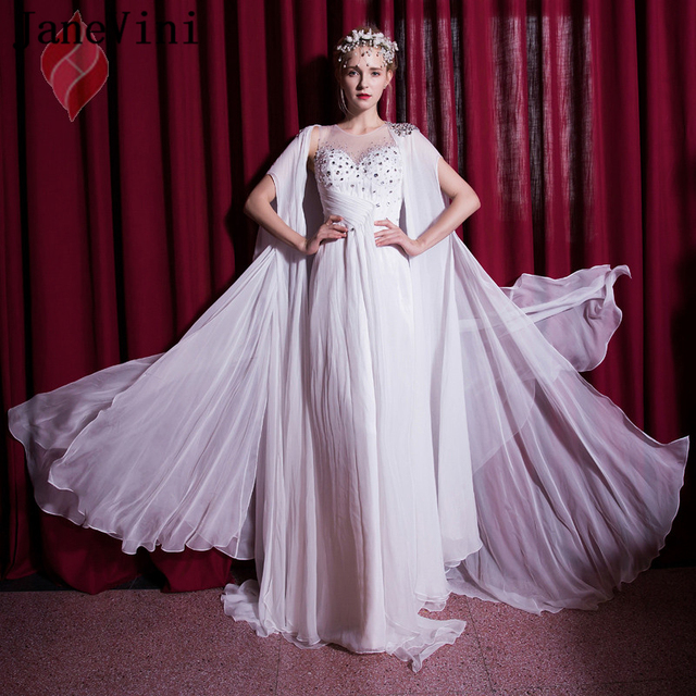 JaneVini White Chiffon Beaded Crystal Long Bridesmaid Dresses with  Detachable Cape A Line Charming Prom Gowns Robe Mousseline 45e4f4f61616