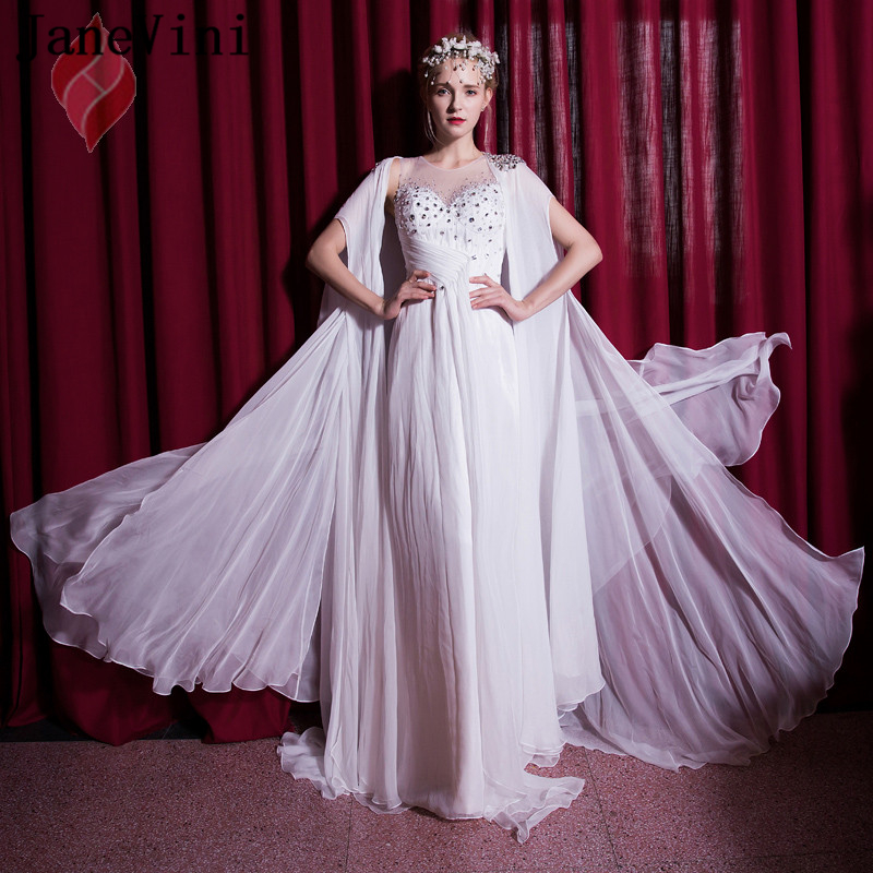 JaneVini White Chiffon Beaded Crystal Long   Bridesmaid     Dresses   with Detachable Cape A Line Charming Prom Gowns Robe Mousseline