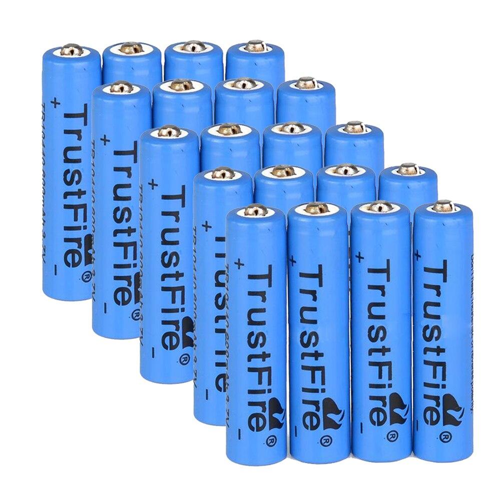 TrustFire 20 PZ AAA 10440 600 mAh 3.7 V Batteria Ricaricabile Li-Ion Blu
