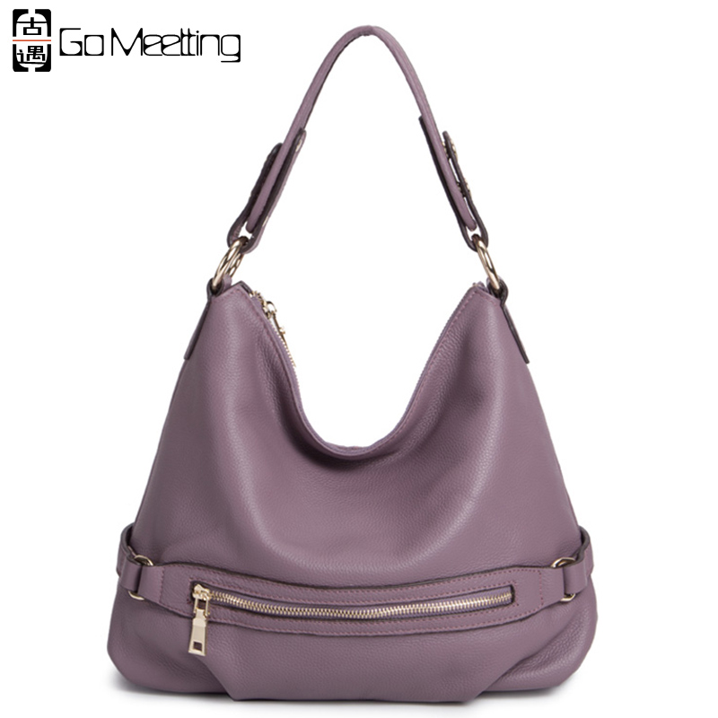 Go Meetting Brand Women Genuine Leather Shoulder Bag High Quality Cow Leather Crossbody Bags 6Color Women Messenger Bags WD24 go meetting vintage genuine leather women s handbags sprayed color cow leather women shoulder bag high quality messenger bags