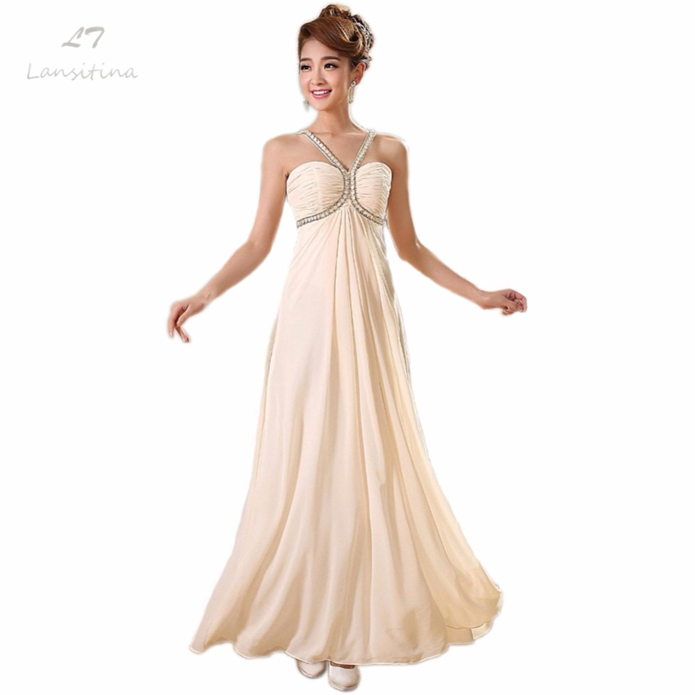 LANSITINA Chiffon Ankle Length Bridesmaid Gown Cheap A