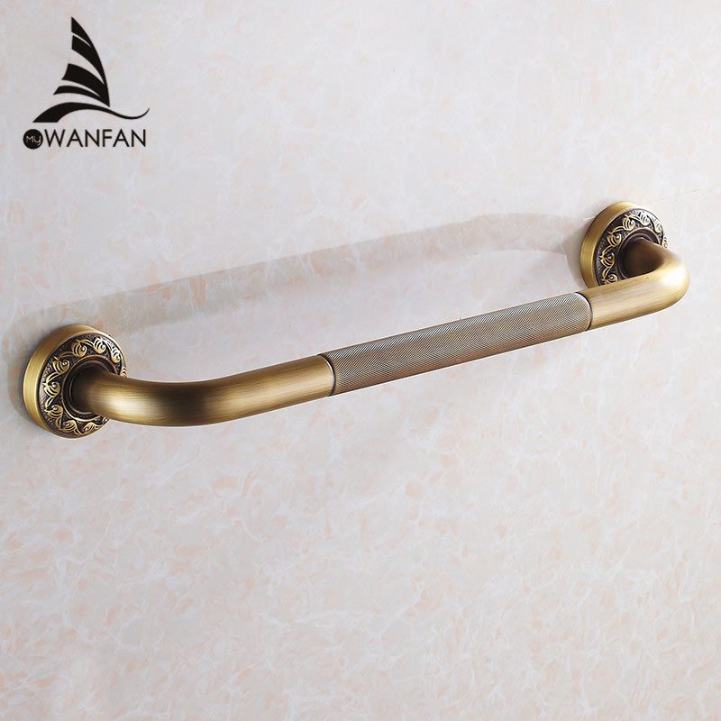 Grab Bars Antique Brass Wall Mounted 52 cm Bathroom Safety Handles Shower Grab Bar Bathtub Handrail Home Assist Bar Grab 3721F grab bars gold brass wall mounted bathroom armrest handle bathtub grab bar toilet elderly handrail home safety grab bar og 51 35