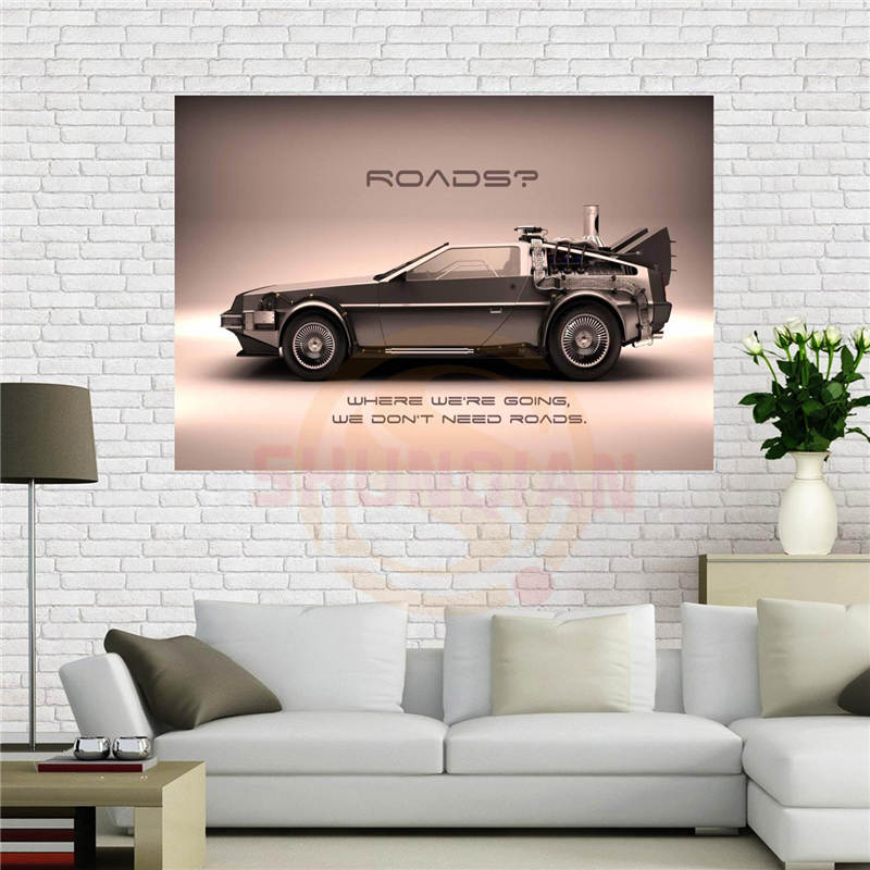 Custom canvas poster Super Cars Back To The Future Poster 40x60 cm Home Decoration cloth fabric wall poster print Silk Fabric
