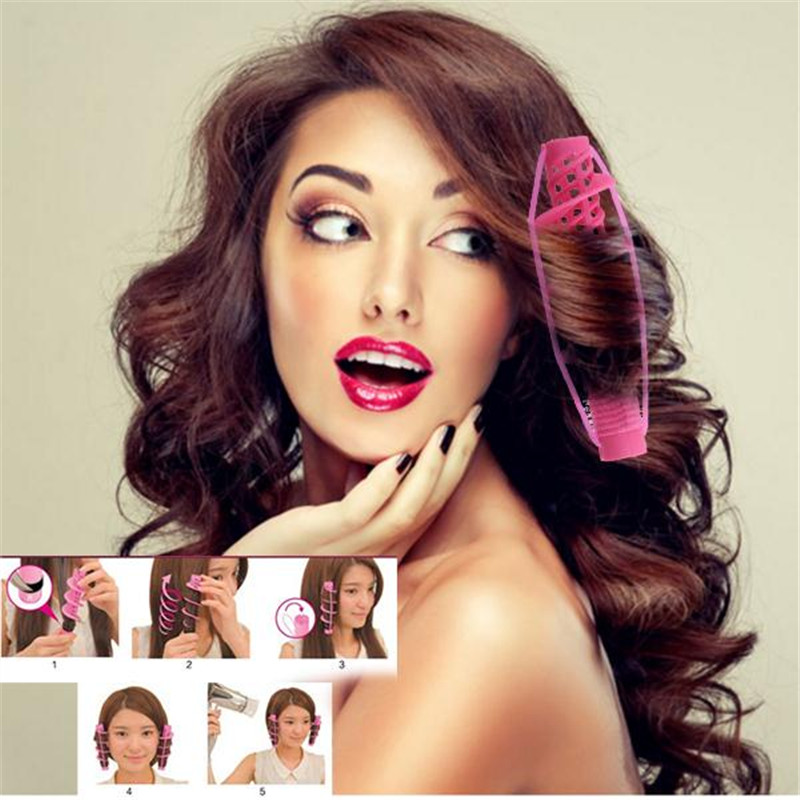 msmask Soft Silicone Hair Curlers Rollers Magic Spiral Curling Iron Wand DIY Hairdressing Styling Curls DIY Hair Style Roller