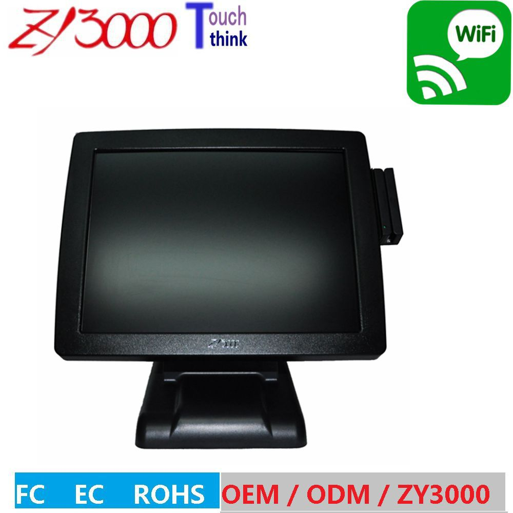 new stock 1037u 4g 64G SSD 15 windows pos system all in one epos terminal touch screen with MSR card reader. 15 inch tft lcd touch screen monitor core i3 touch screen pos all in one restaurant epos system with msr customer display