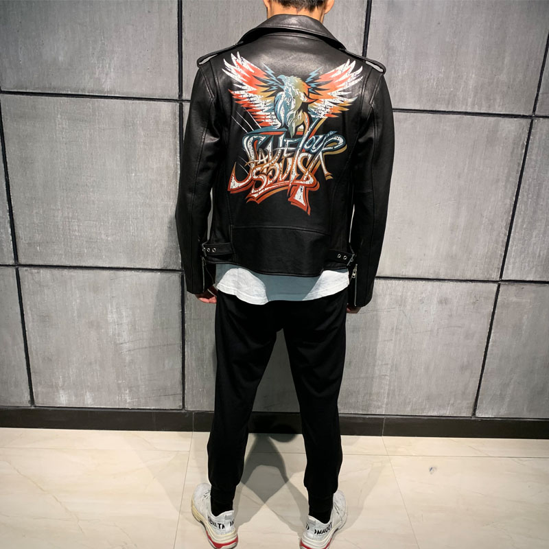Male Leather Jacket Paint Leather Coat Men Genuine Sheepskin
